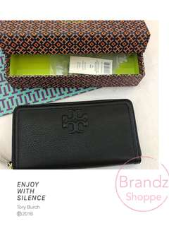 🐎Pre-RAYA Sale! 💯% Authentic Tory Burch Women Thea Multi Gusset Zip Continental Long Wallet (Black) Ready Stock!!!