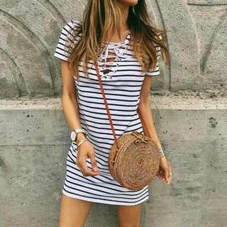 Bandage Stripe Dress #list4sbux