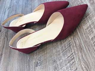 Red suede flats size 37