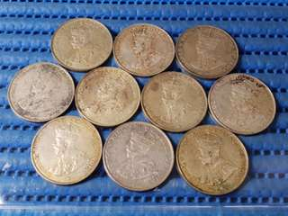 10X 1920 Straits Settlements 50 Cents Coin ( Lot of 10 Pieces )
