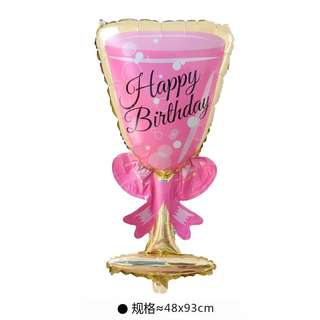 C172 - 3 birthday party foil balloon champagne glass