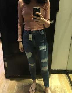 Topshop Jamie Ripped High Waist Jeans