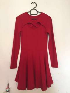 Crossed neck red dress S - petite M size