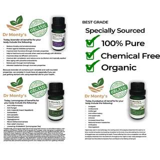 Dr Monty's Organic Essential Oil (Suits for diffuser in cars!)