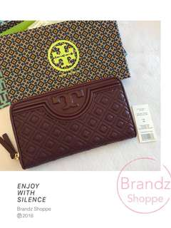 🐎ON SALE! 💯% Authentic Tory Burch Fleming Zip Continental Women Long Wallet 32166 (Maroon Red) Ready Stock!!!
