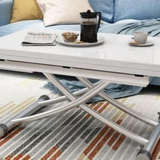 升降茶几 木紋 亮光 鋼化玻璃 餐桌 電腦桌 180504-80cm