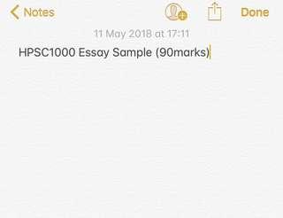 USYD HPSC1000 Essay Sample (90marks)