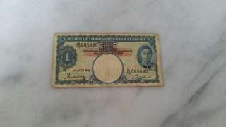 1941 Board of commissioners of currency note Malaya $1英属马来亚纸钞币