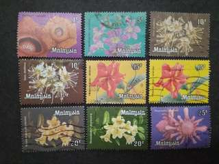 Malaysia 1979 Definitive Flowers Loose Set Short Of 2c - 9v Used Stamps #2