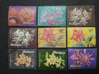 Malaysia 1979 Definitive Flowers Loose Set Short Of 2c - 9v Used Stamps #3