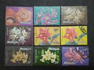 Malaysia 1979 Definitive Flowers Loose Set Short Of 2c - 9v Used Stamps #4