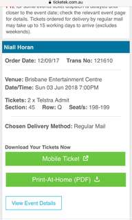 2 NIALL HORAN TICKETS BRISBANE