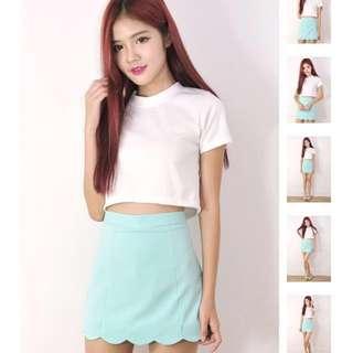 Mint Scallop Skorts in Mint Tiffany Blue shorts skirt