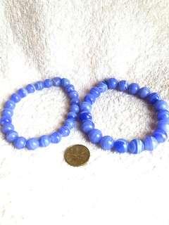 (20% Off) Natural Blue Lace Agate Bracelets 全天然的蓝纹玛瑙手链