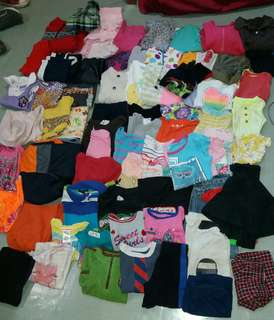80 pcs pre-loved clothes for girl and boys ages 0-12 (all are branded)