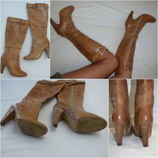 SIREN TAN LEATHER VINTAGE BOOTS belt at calf STACKED HEEL 8 / 8.5 great cond