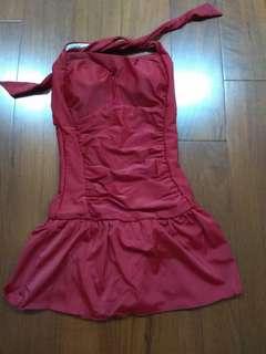🚚 Red strappy swimming suit紅色綁帶連身泳裝(尺寸M)