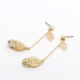 EMVINEX- 3D laser cut Gold leaves 🍁 petals with gem stone dangling earring