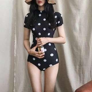 Retro Style Polka Dot Short Sleeve One Piece Swimsuit
