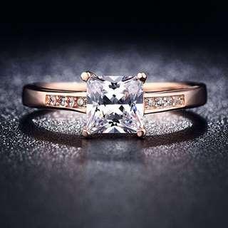 18K Rose Gold Plated Zircon Ring