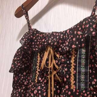 🚚 日本帶回玫瑰麂皮綁帶印地安嬉皮風細肩帶洋裝長版上衣