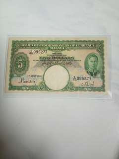 1941 Malaya king George $5