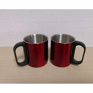 #New# Twin Red Cups Stainless Steel