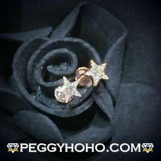 【Peggyhoho】全新18K玫瑰金29份真鑽石耳環 | 大睇之選 | 星星 最新靚款