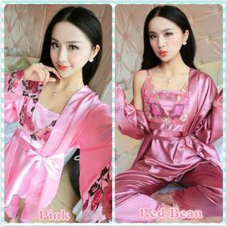 Muimui Woman Plus Size Satin Robe Set Suit Floral With Long Pant 2 Colour MS1027