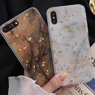 #手機殼IPhone6/7/8/plus/X : 復古金錫箔大理石紋全包邊軟殼