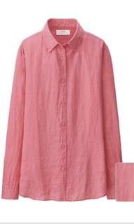 Preloved Uniqlo Premium Linen Shirt in Ruby Red (sz. L)
