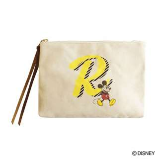 "Japan Disney Accommode Mickey Mouse Initial ""R"" Pouch"