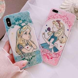 #手機殼IPhone6/7/8/plus/X : 閃粉水鑽愛麗絲藍光全包邊透明軟殼