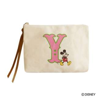 """Japan Disney Accommode Mickey Mouse Initial """"Y"""" Pouch"""