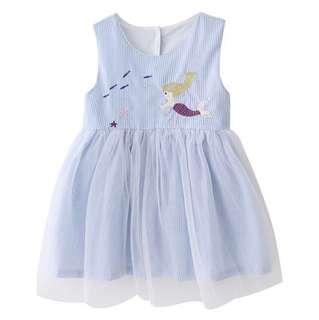【BABYWEAR】【CLOTHING】【GIRL】PCD00013 BABY GIRL TODDLER CHILDREN BLUE STRIPES MERMAID DRESS