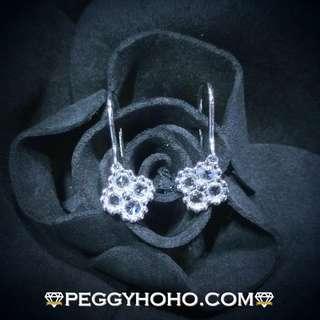 【Peggyhoho】全新18K白金32份真鑽石閃閃吊耳環一對|罕有特式 Rose Cut 鑽石 |四葉草 通透閃爍