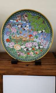 Vintage cloisonne display plate