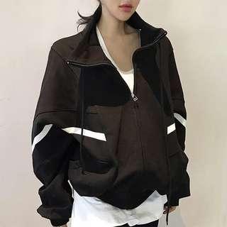 韓國chic休閒百搭運動拼色寬松蝙蝠袖立領抽繩拉鍊開衫衛衣外套女