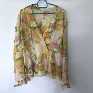 Vintage Floral Kimono Top Blouse