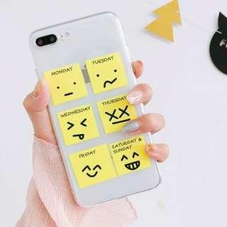 #手機殼IPhone6/7/8/plus/X : 簡約笑臉表情包全包邊透明軟殼