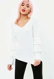 White tiered sleeve knit jumper