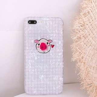 #手機殼IPhone6/7/8/plus/X : 貝殼紋小豬全包邊軟殼