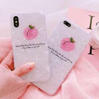 #手機殼IPhone6/7/8/plus/X : 清新桃子貝殼紋全包邊軟殼