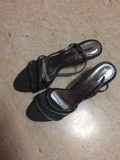 Jukebox grey silver strappy heels
