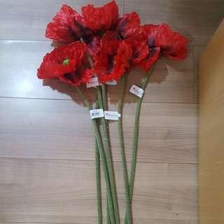 Oversized Poppy Silk Wildflower Stem in Red x 6