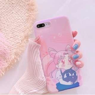 #手機殼IPhone6/7/8/plus/X : 美少女戰士露娜貓藍光全包邊軟殼