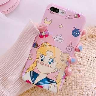 #手機殼IPhone6/7/8/plus/X : 可愛美少女戰士藍光全包邊軟殼