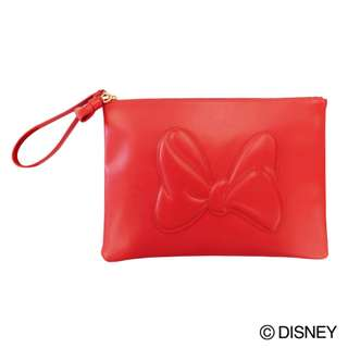 Japan Disney Accommode Minnie Mouse Ribbon Red Clutch Bag