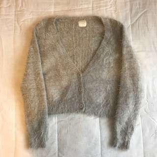 Faux fur grey fluffy warm long sleeve cropped button up cardigan jacket sweater jumper knit