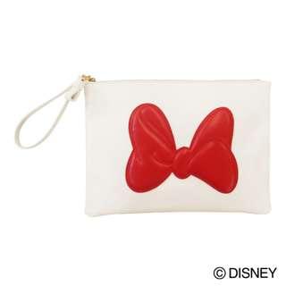 Japan Disney Accommode Minnie Mouse Ribbon White Clutch Bag